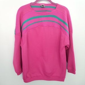 {Vintage} Pink Green Pullover Sweater Size Small